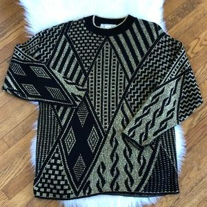 80's // Black and Gold Sweater (Made in USA)